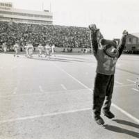 Monte, the University of Montana mascot, at Marshall University for championship football game.