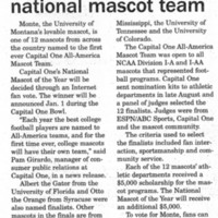 UM's Monte Picked For National Mascot Team, page 11.