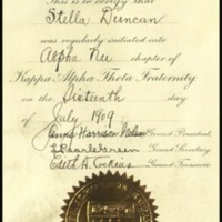 Certificate of Initiation for Stella Louise Duncan