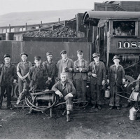 Railroad crew and engine