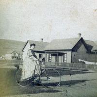 Mrs. Crain on a bicycle, Missoula, Montana.