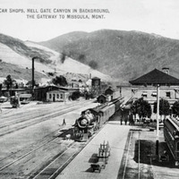 Northern Pacific station and car shops in Missoula