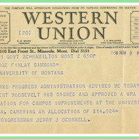Telegram; Jerry J. O&amp;#039;Connell to Dr. George Finlay Simmons<br />