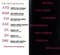UM Fraternities, front and verso<br />