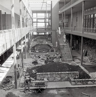 View of the construction of the University Center planters.