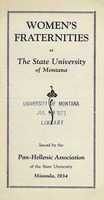 Women&#039;s Fraternities at the State University of Montana, cover and page 2, 3, 4, 5, 6 and 7<br />