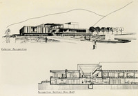 Perspective drawing of University Center and sectional of mall.