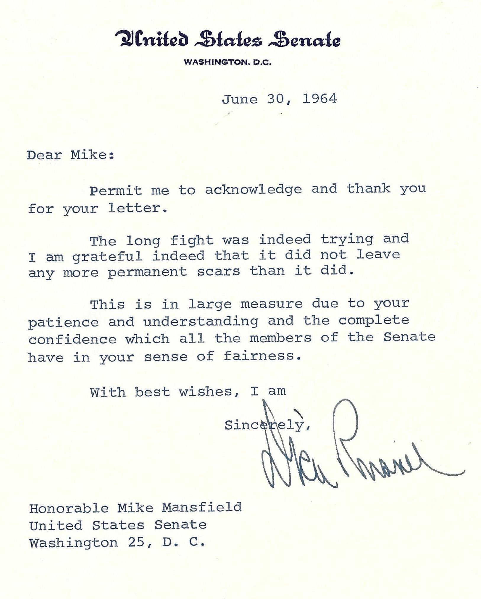 Note to Senator Mike Mansfield from Senator Richard Russell, June 30, 1964