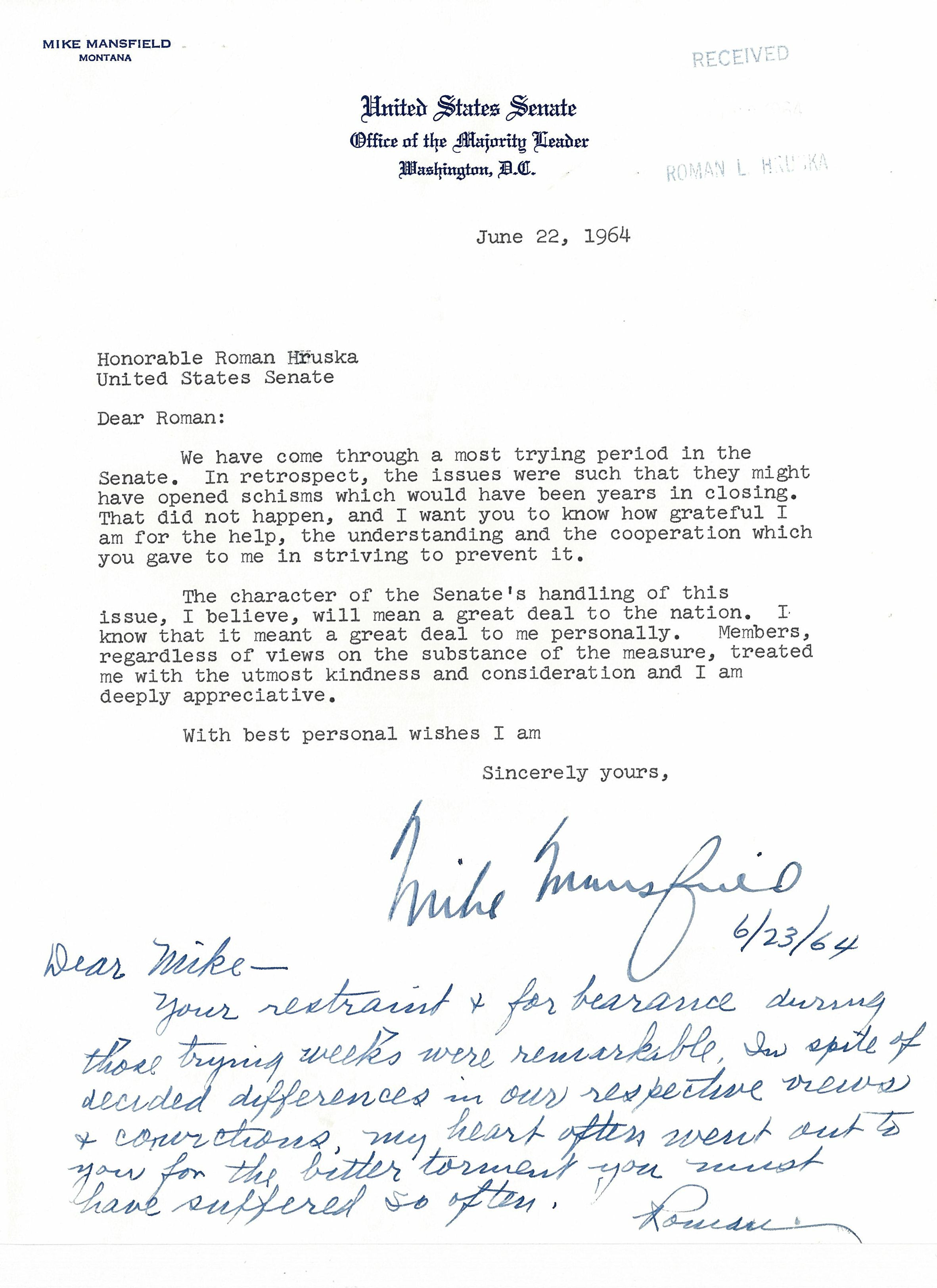 civil rights exhibits lib umt edu letter to r hruska from mike mansfield 22 1964