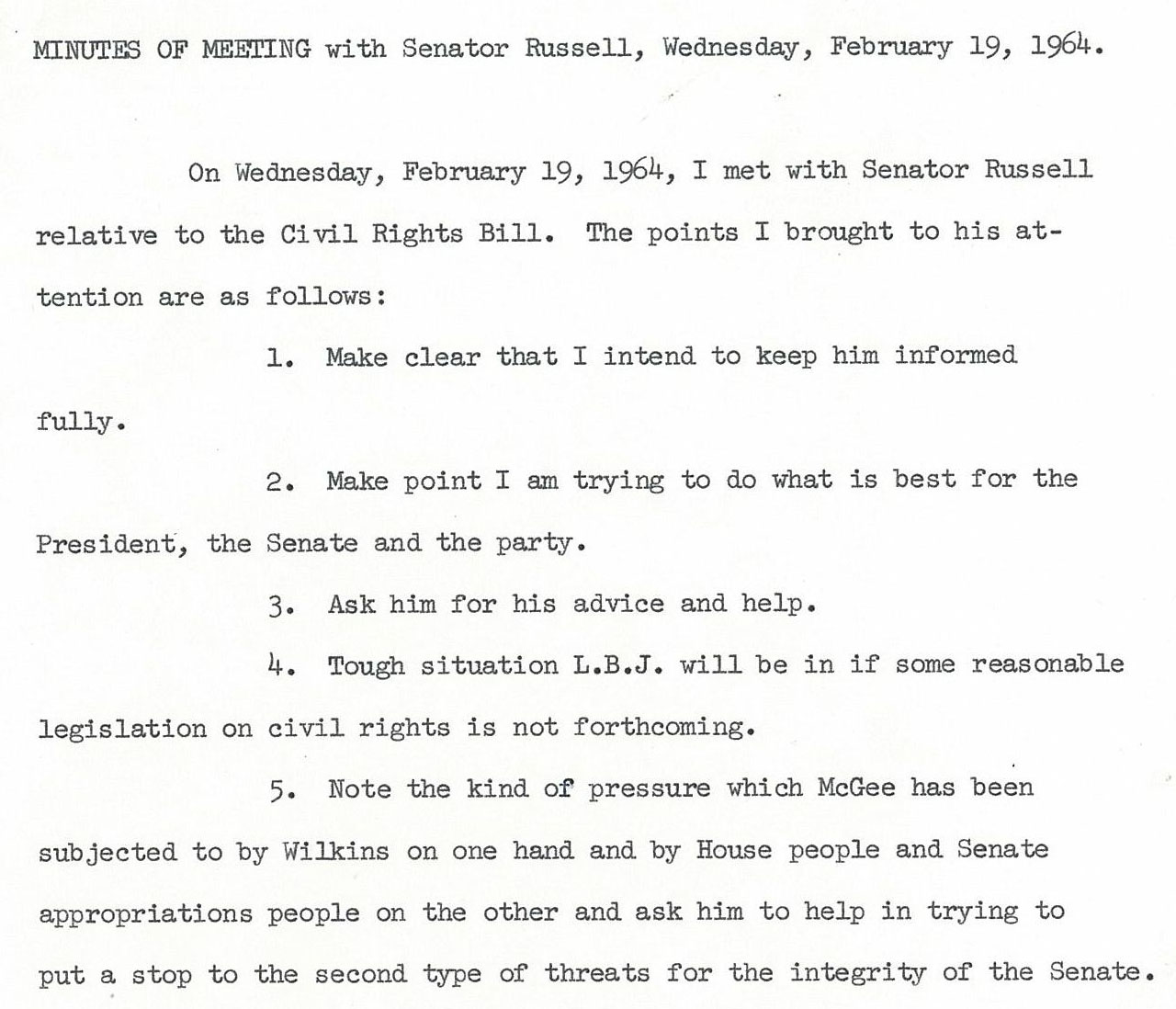 civil rights exhibits lib umt edu senator mike mansfield and senator richard russell meeting minutes 19 1964