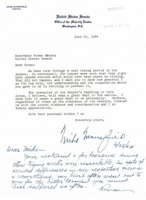 Letter to Roman Hruska from Mike Mansfield, June 22, 1964