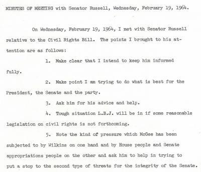 Senator Mike Mansfield and Senator Richard Russell Meeting Minutes, February 19, 1964