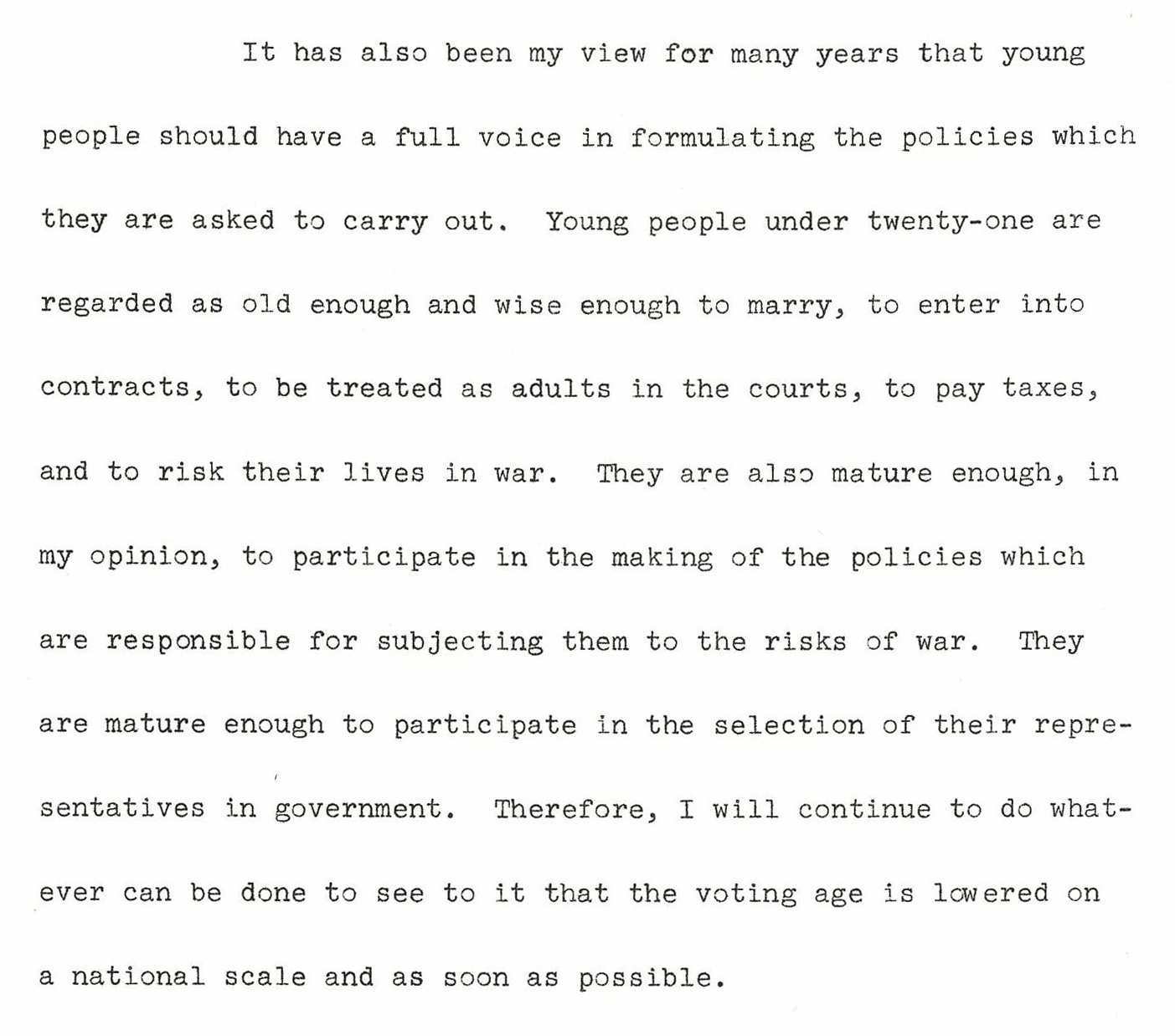 voting age exhibits lib umt edu remarks of senator mike mansfield at flathead high school commencement 1 1970