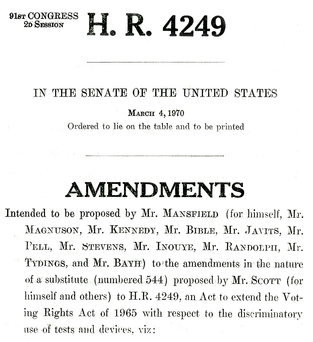voting age exhibits lib umt edu 545 to the voting rights act lowers the voting age to 18 introduced by senator mike mansfield on 4 1970