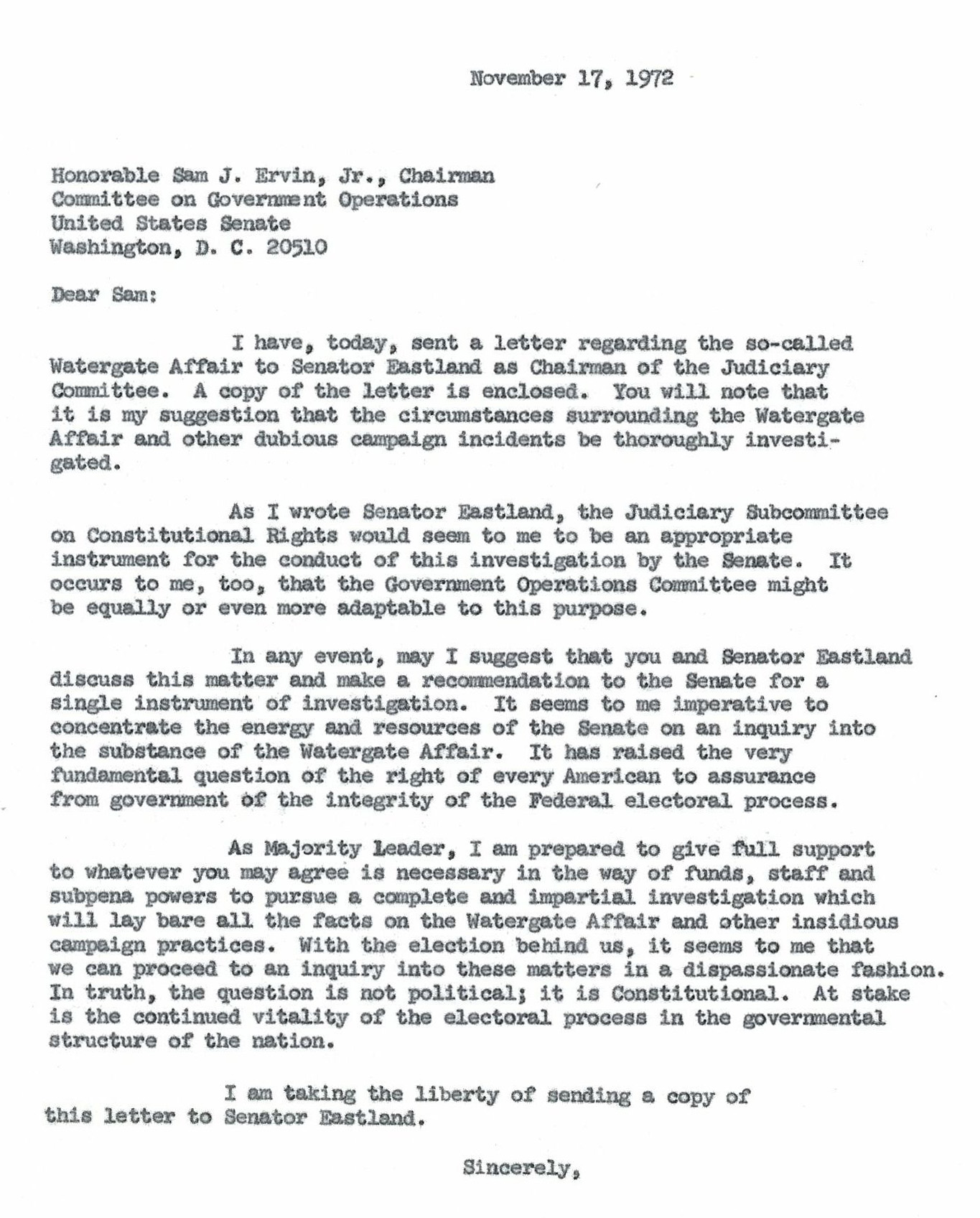 watergate exhibits lib umt edu letter to senator sam j ervin jr from senator mike mansfield 17 1972 watergate